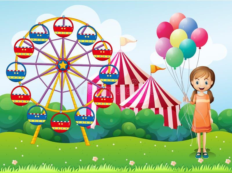 Una chica joven feliz que sostiene los globos cerca del carnaval libre illustration