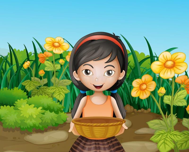 Una chica joven que celebra una cesta vacía en el jardín stock de ilustración