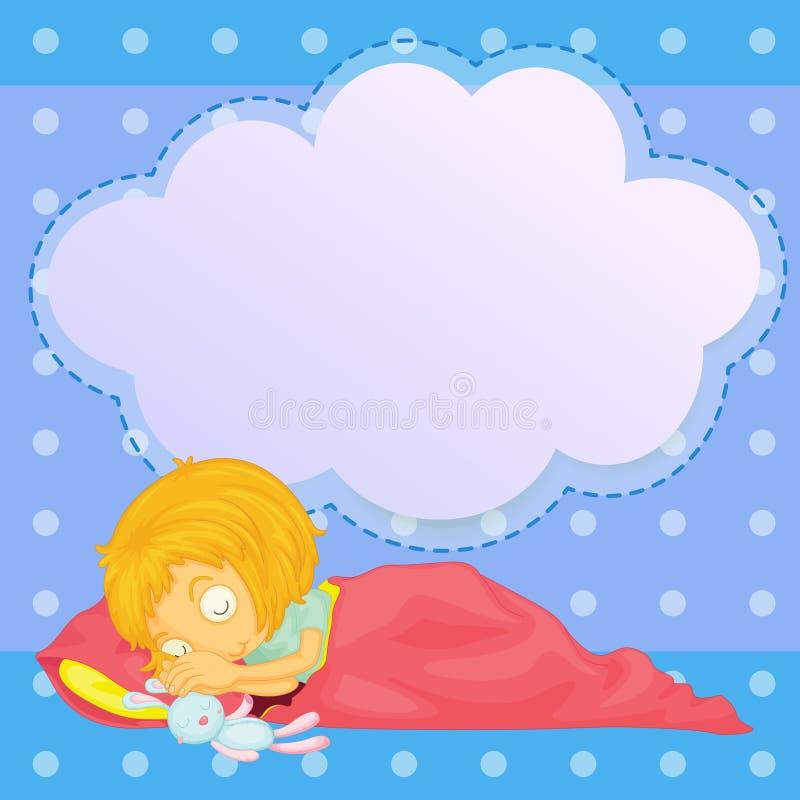 Una chica joven que duerme con un reclamo vacío libre illustration