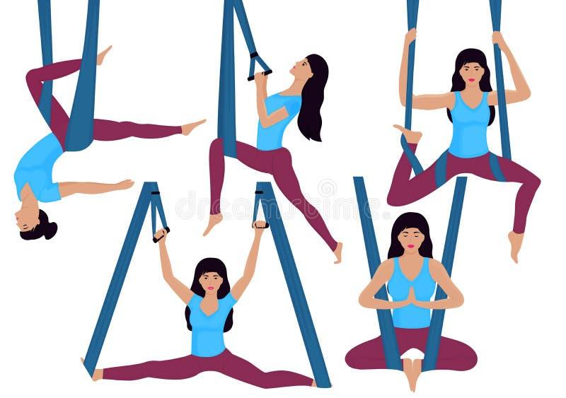 Una chica joven que hace ejercicios aéreos de la yoga en una hamaca Sistema de diversos asanas libre illustration