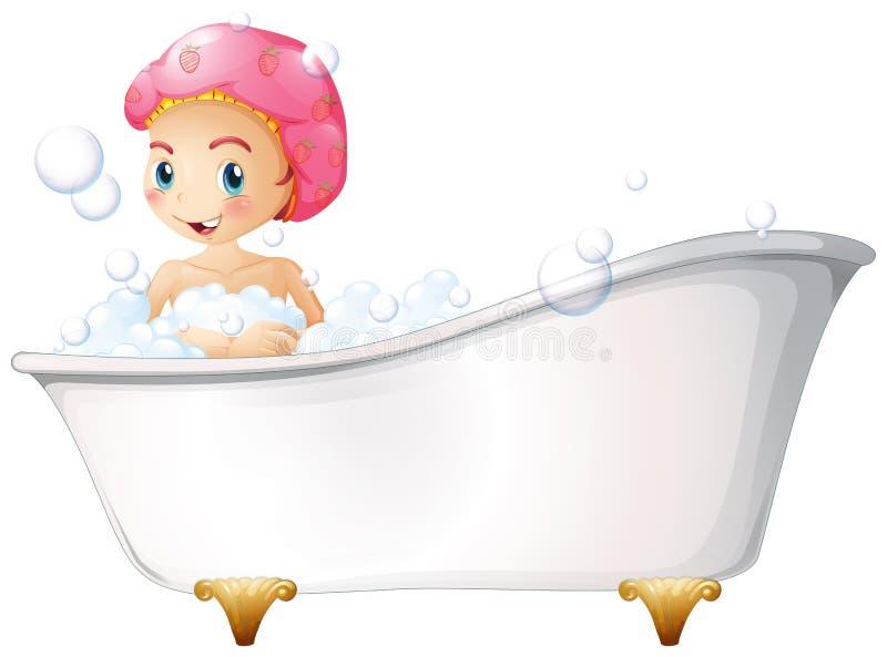 Una chica joven que toma un baño ilustración del vector