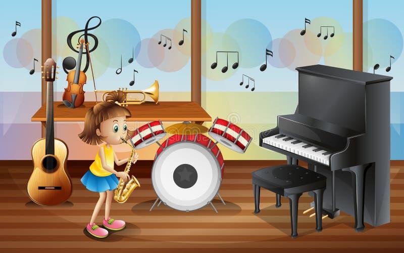 Una chica joven rodeada con los instrumentos musicales ilustración del vector