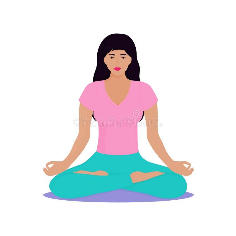 Una chica joven se sienta en una posición de loto La mujer est? haciendo yoga Chin Mudra ilustración del vector
