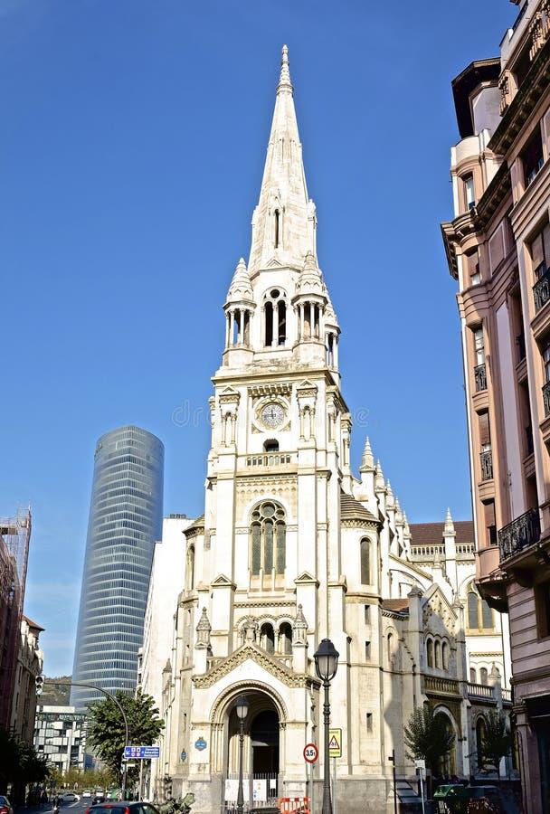 Una chiesa a Bilbao Spagna fotografie stock libere da diritti
