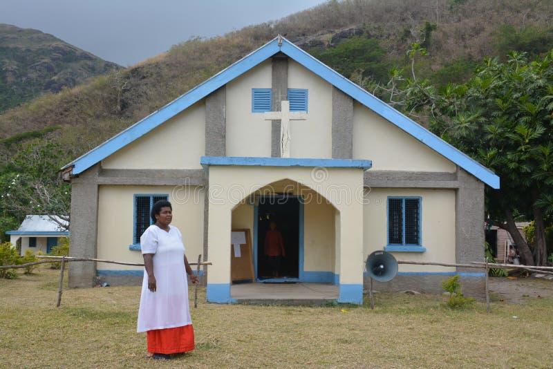 Una chiesa del Fijian in un villaggio fotografia stock
