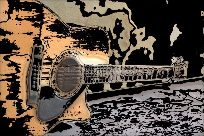 Una chitarra classica antica che suona come una bella melodia illustrazione di stock