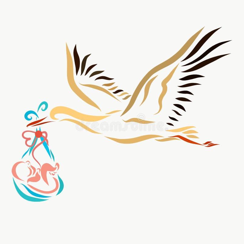 Una cigüeña que lleva a un bebé recién nacido ilustración del vector