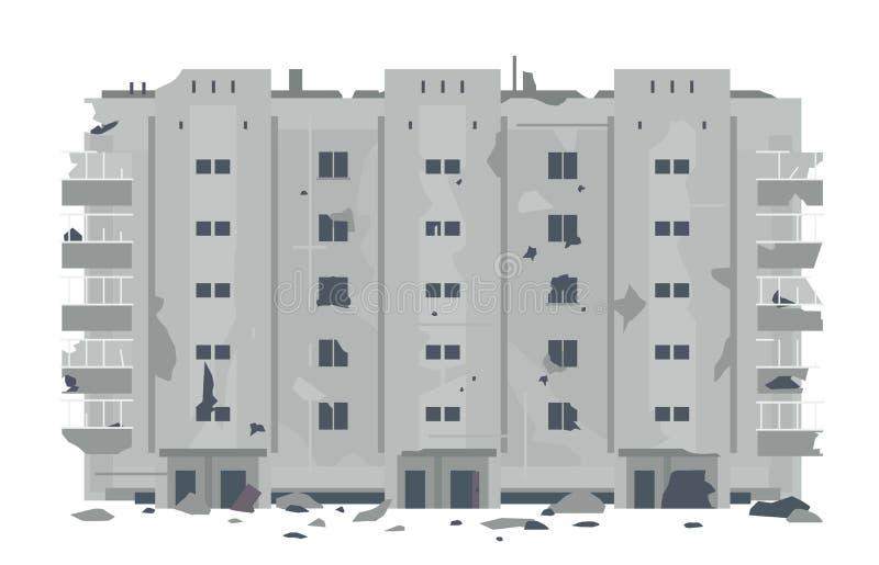 Una cinco-historia desrtoyed del este - edificio europeo stock de ilustración