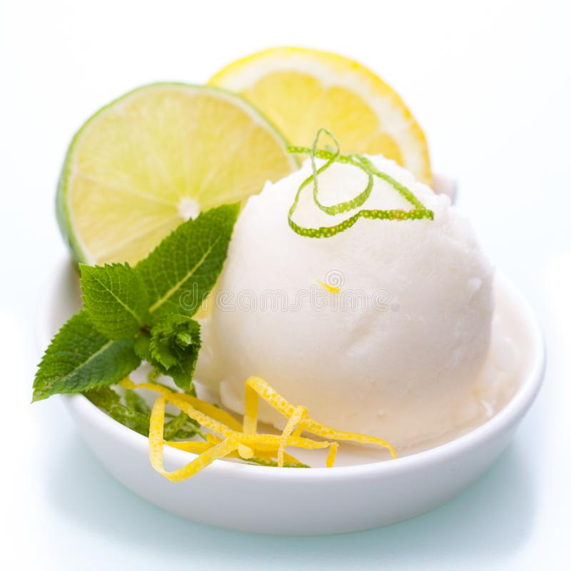 Una ciotola di gelato del limone isolato su fondo bianco immagine stock