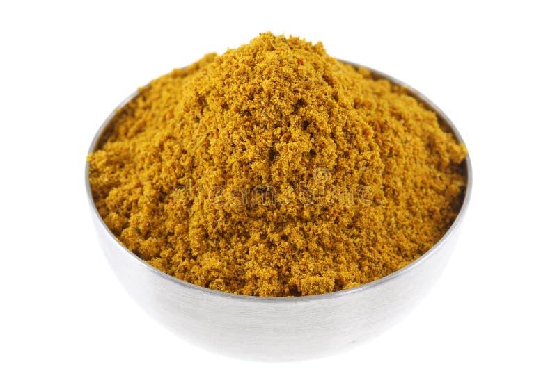 Una ciotola di polvere di curry piccante immagine stock libera da diritti