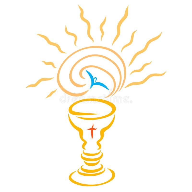 Una ciotola per l'eucaristia, un uccello di volo e una luce brillante illustrazione di stock