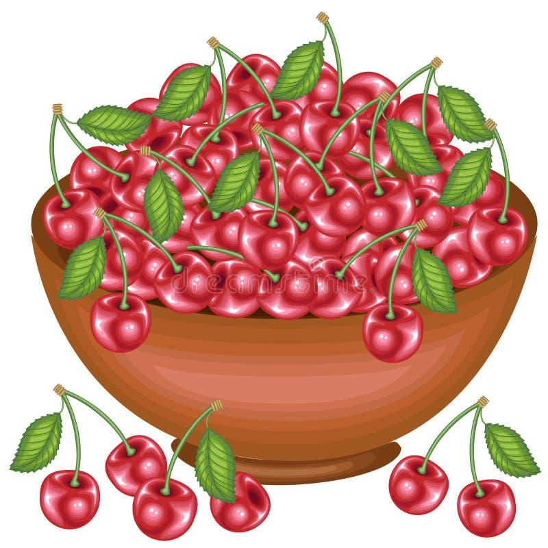 Una ciotola piena del raccolto ricco di belle ciliege succose Bacche rosse dolci, una fonte di vitamine e myctoelements Vettore illustrazione vettoriale
