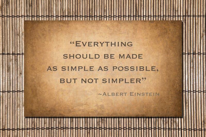 Una cita no más simple de Einstein imágenes de archivo libres de regalías