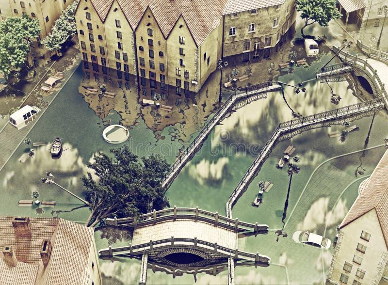 Una città di inondazione royalty illustrazione gratis