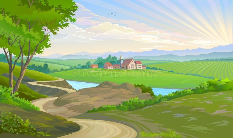 Una ciudad en el medio de campos verdes extensos libre illustration