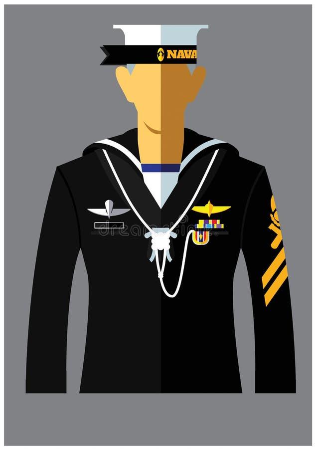 Una clase de uniforme de la marina de guerra stock de ilustración