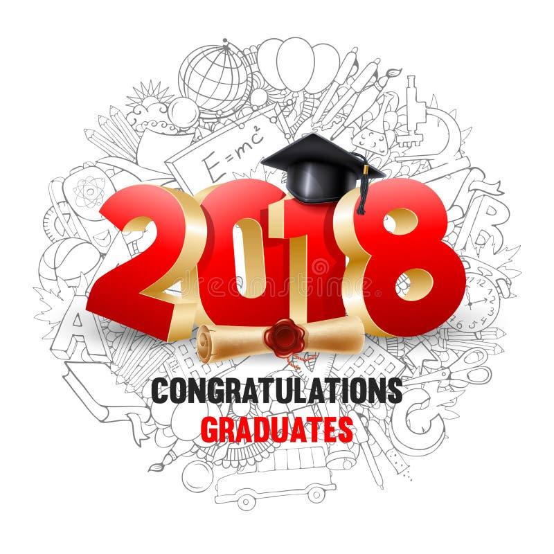 Una classe dei laureati di congratulazioni di 2018 illustrazione vettoriale