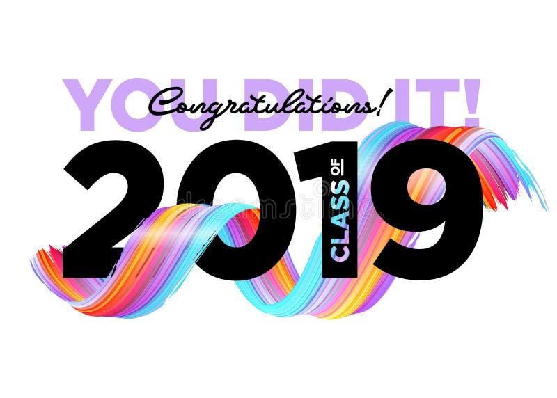 Una classe dei laureati di congratulazioni di logo 2019 di vettore Modello del fondo di graduazione Accogliere insegna per la gra illustrazione vettoriale