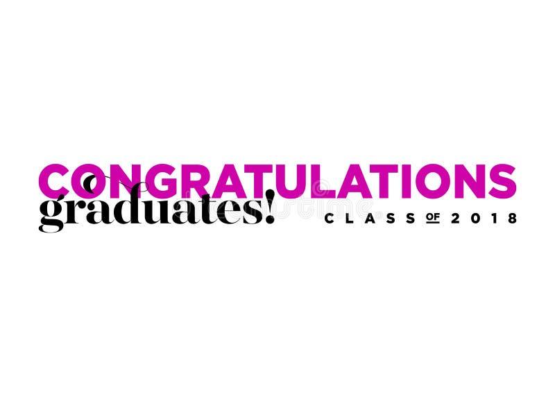 Una classe dei laureati di congratulazioni di logo di 2018 vettori illustrazione di stock