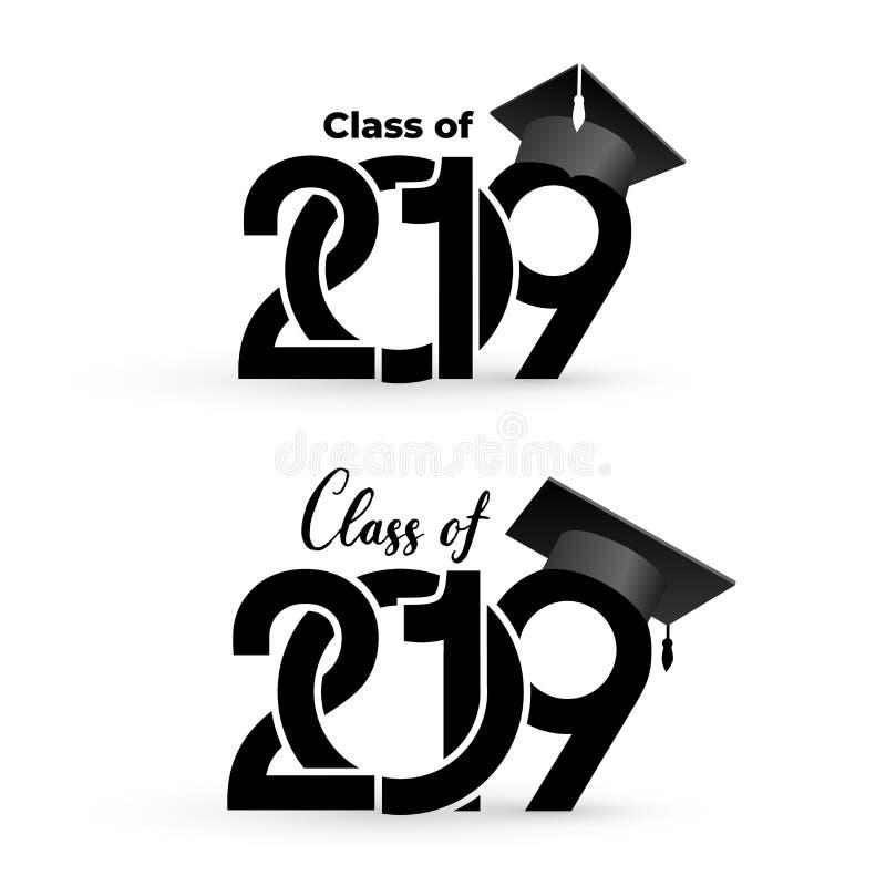 Una classe di 2019 con il cappuccio di graduazione Modello di progettazione del testo Illustrazione di vettore Isolato su priorit illustrazione vettoriale