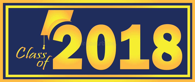 Una classe di 2018 gialli e blu royalty illustrazione gratis