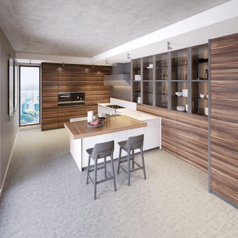Una cocina con una isla de cocina con dos sillas en una cocina moderna, el estilo de los muebles contemporáneos y modernos de la  libre illustration