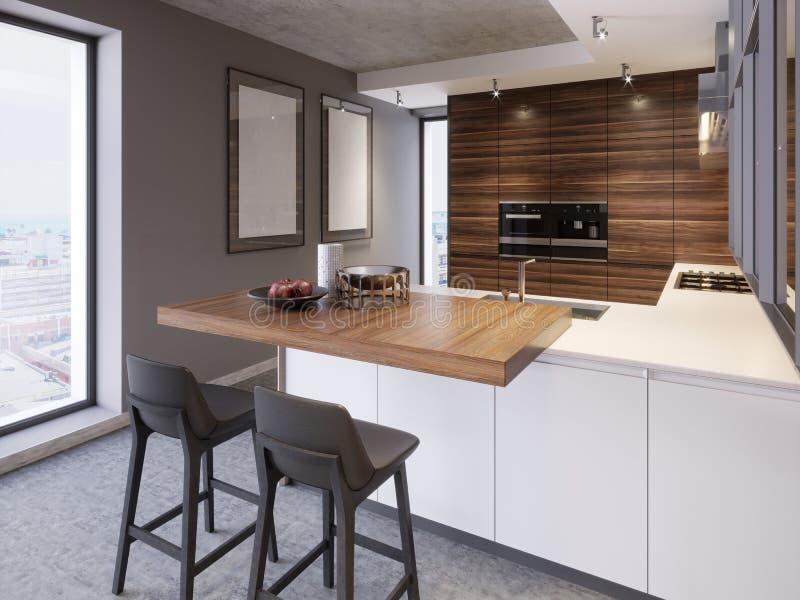 Una cocina con una isla de cocina con dos sillas en una cocina moderna, el estilo de los muebles contemporáneos y modernos de la  ilustración del vector
