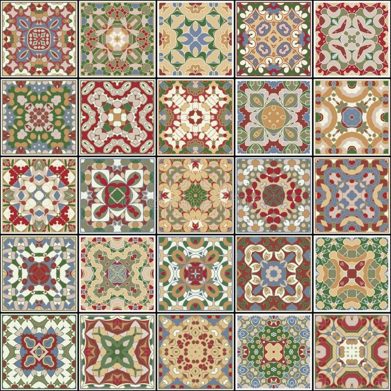 Una colección de baldosas cerámicas en colores retros ilustración del vector