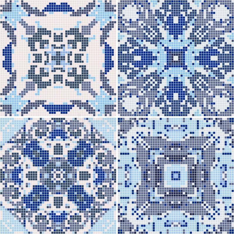 Una colección de baldosas cerámicas en colores retros azules libre illustration