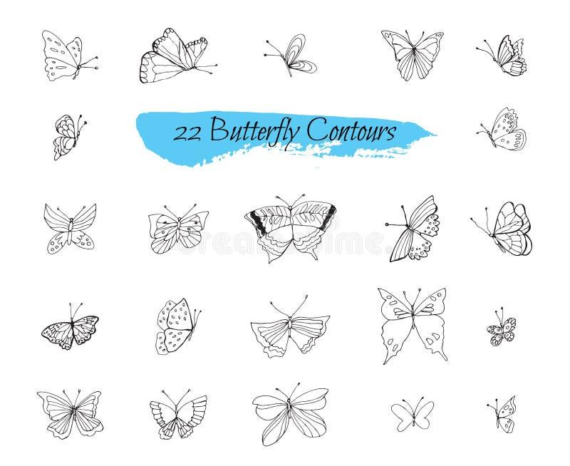 Una colección de bosquejos hechos a mano con las mariposas ilustración del vector