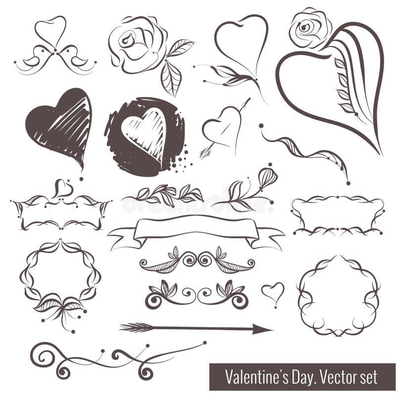 Una colección de bosquejos a mano para el día de tarjeta del día de San Valentín Corazón hermoso libre illustration