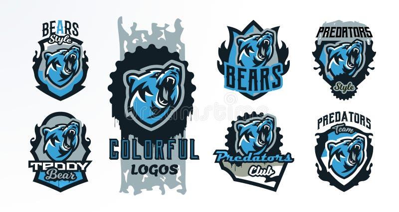 Una colección de emblemas coloridos, insignias, logotipos de un oso del rugido Depredador peligroso, un animal del bosque, impres libre illustration
