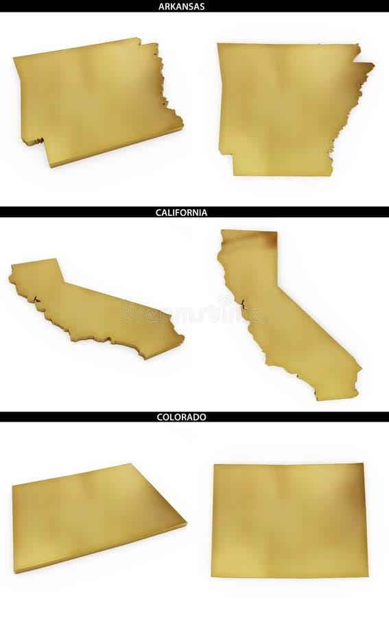 Una colección de formas de oro de los estados americanos Arkansas, California, Colorado de los E.E.U.U. stock de ilustración