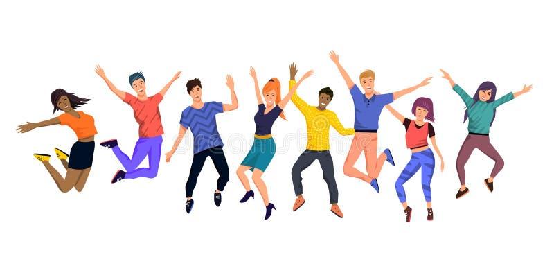 Una colección de gente joven de salto feliz stock de ilustración