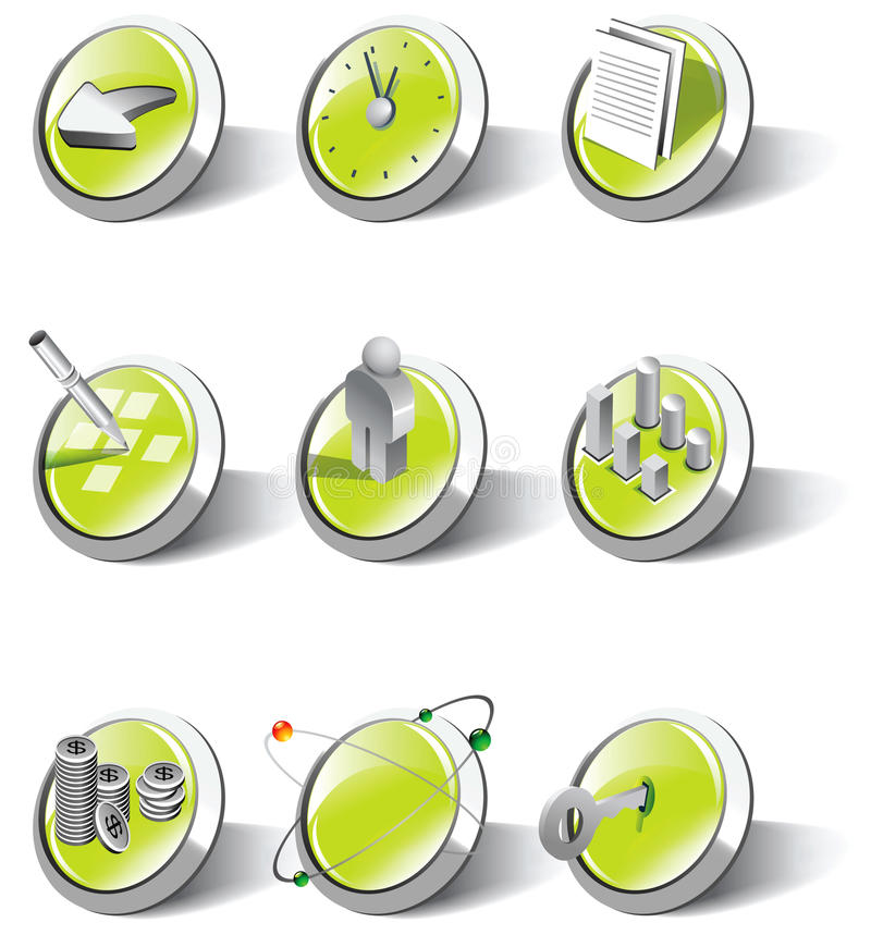 Una colección de iconos del Web y de la aplicación stock de ilustración