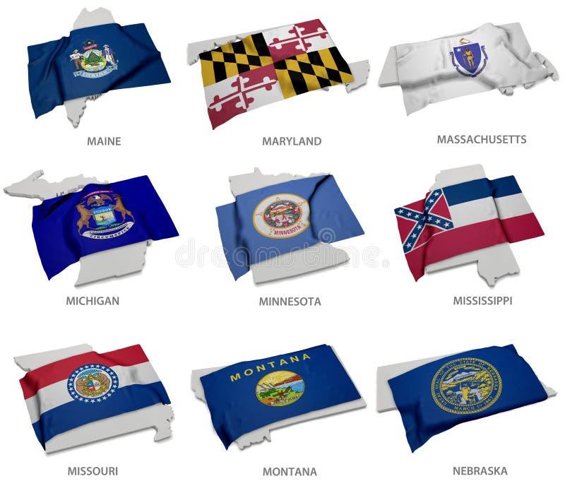 Una colección de las banderas que cubren la correspondencia forma de algunos Estados Unidos ilustración del vector