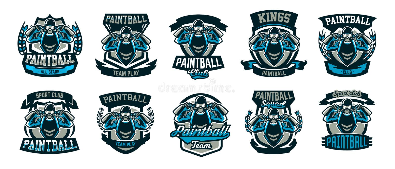Una colección de logotipos, emblemas, una persona que juega Paintball sostiene dos armas Juego de equipo, munición, radio de tiro stock de ilustración