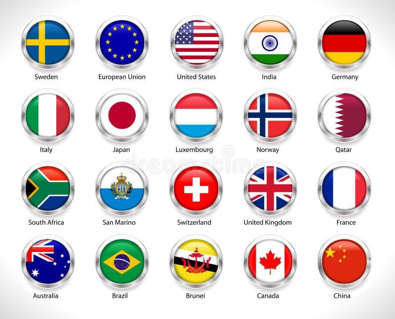 Una colección de mundo señala la insignia por medio de una bandera en botón brillante - vector eps10 ilustración del vector
