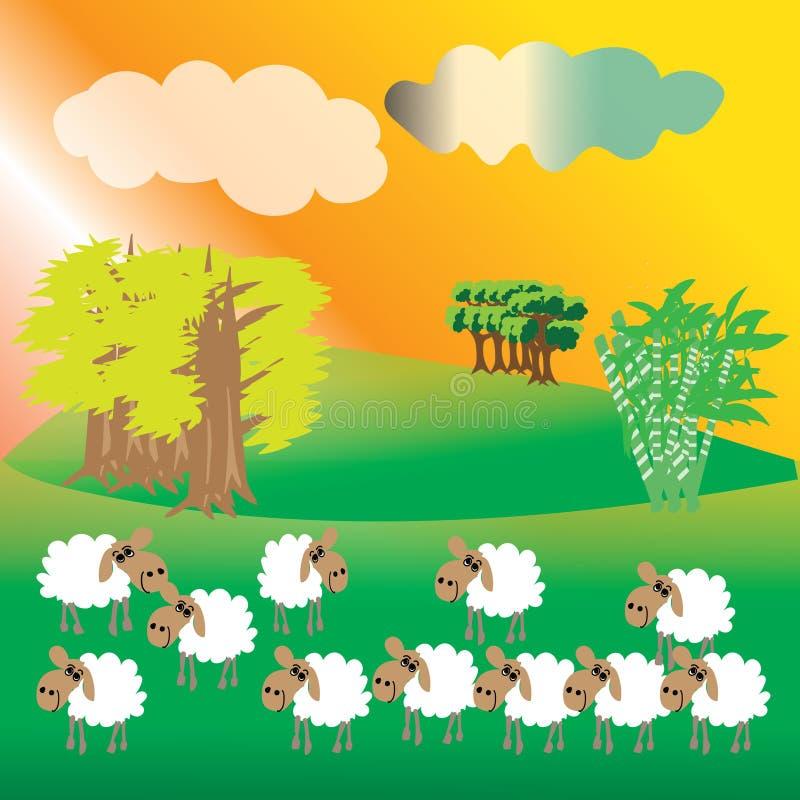 una colección de ovejas en la ladera verde imagenes de archivo