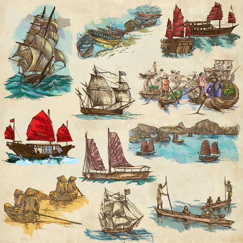Una colección del mismo tamaño dibujada mano, paquete de barcos y naves Es ilustración del vector
