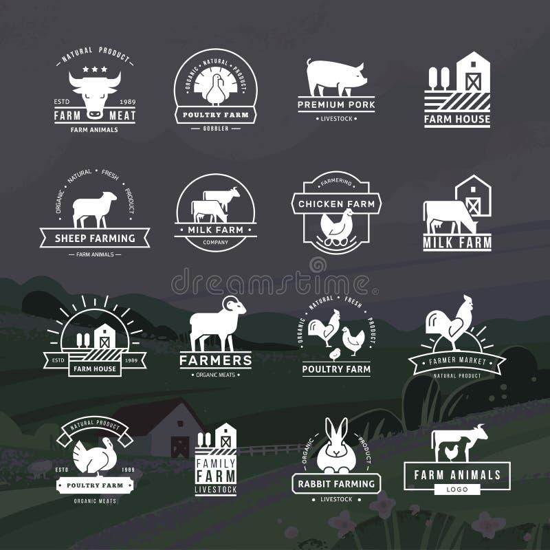 Una colección grande de logotipos del vector para los granjeros, los colmados y otras industrias libre illustration