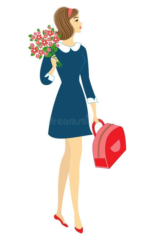 Una colegiala joven va a ense?ar La muchacha es muy bonita, ella tiene un buen humor, una sonrisa La se?ora lleva un ramo de flor ilustración del vector