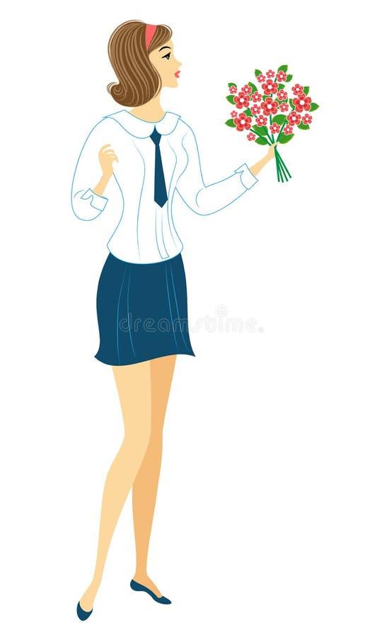 Una colegiala joven va a ense?ar La muchacha es muy bonita, ella tiene un buen humor, una sonrisa La se?ora lleva un ramo de flor stock de ilustración