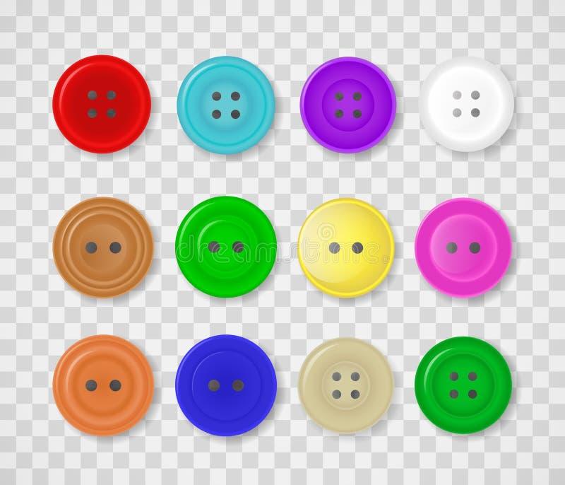 Una collezione di bottoni per i vestiti dei colori e delle progettazioni differenti illustrazione di stock