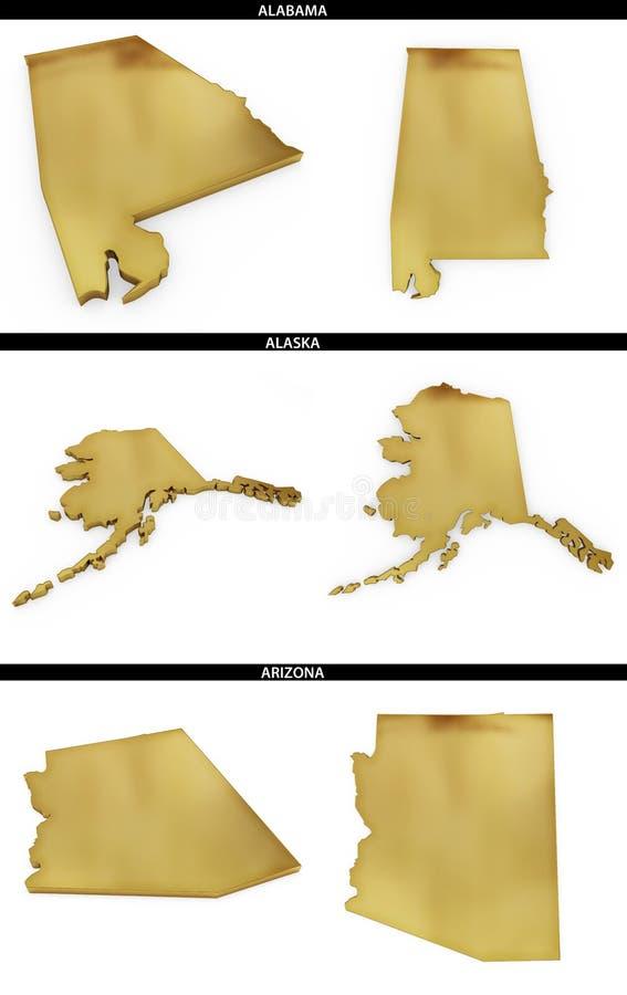 Una collezione di forme dorate dagli stati americani Alabama, Alaska, Arizona degli Stati Uniti illustrazione di stock