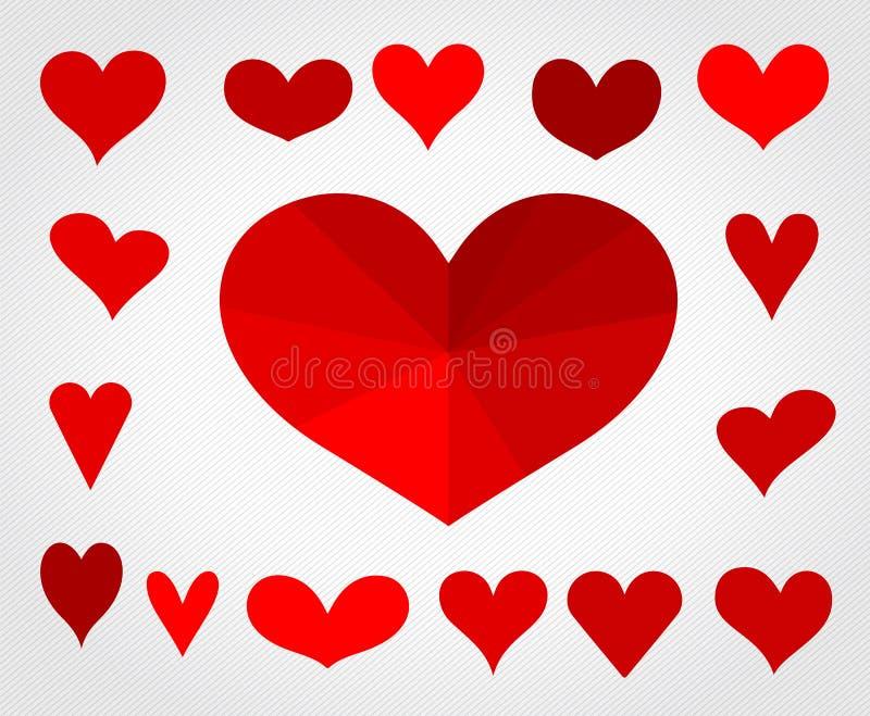 Una collezione di insieme dell'illustrazione di vettore dei cuori di amore royalty illustrazione gratis