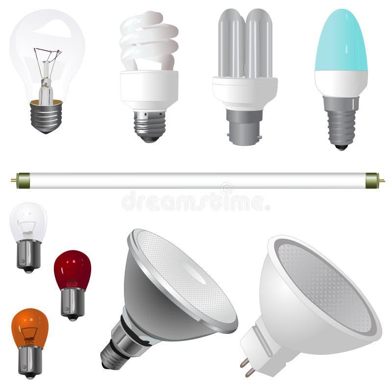 Una collezione di lampadine royalty illustrazione gratis