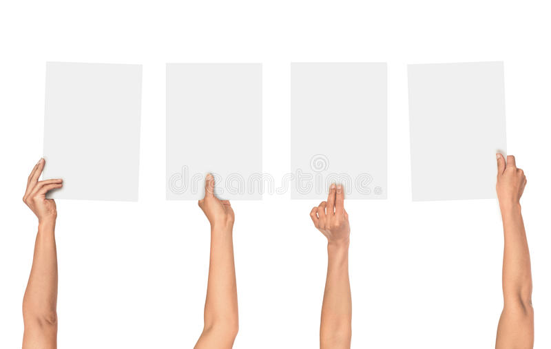 Una collezione di mani femminili che tengono carta fotografia stock