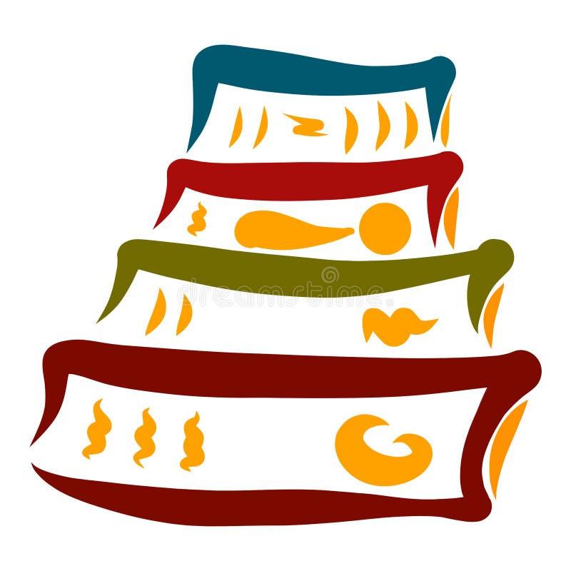 Una collezione di quattro libri di varie dimensioni illustrazione di stock