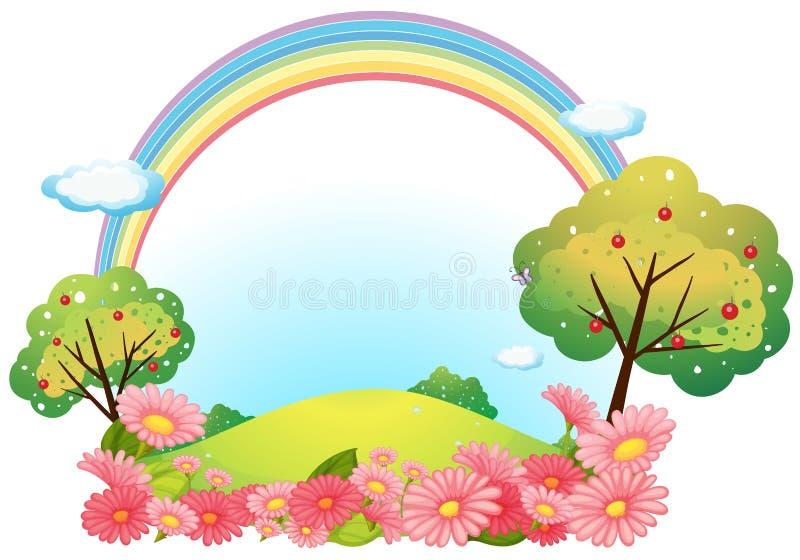 Una collina con i fiori e gli alberi illustrazione di stock
